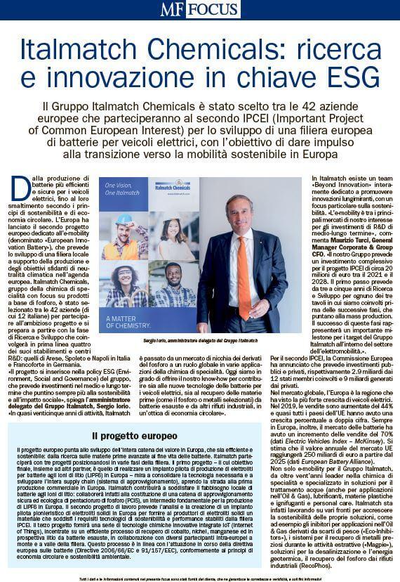 Italmatch ESG commitment on Milano Finanza MF Focus