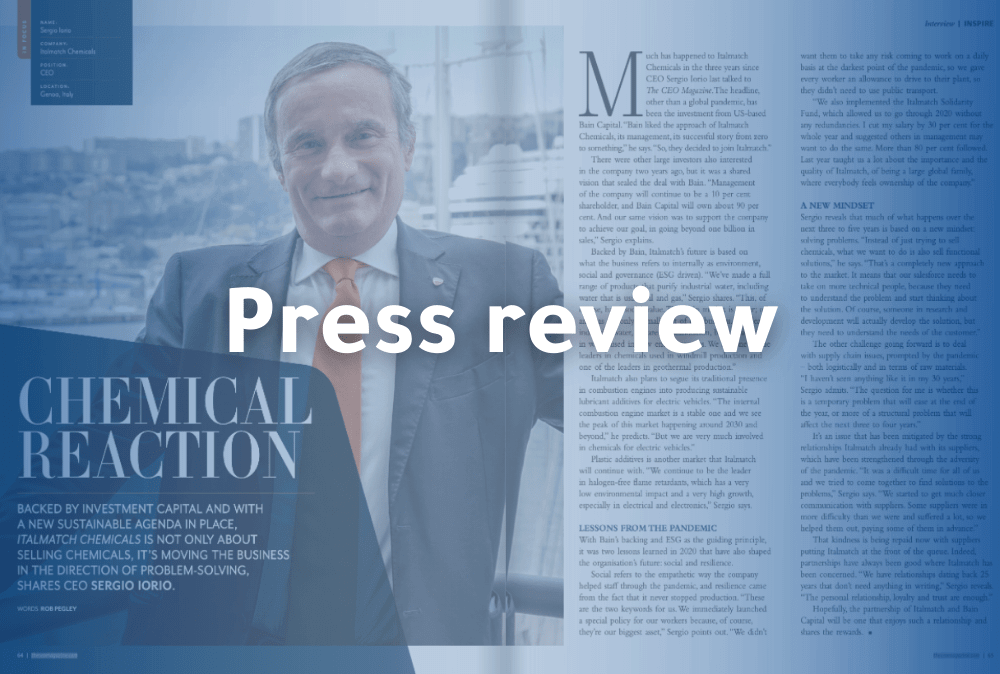 Italmatch Chemicals Group's CEO Sergio Iorio interviewed in the September Issue of The CEO Magazine - EMEA